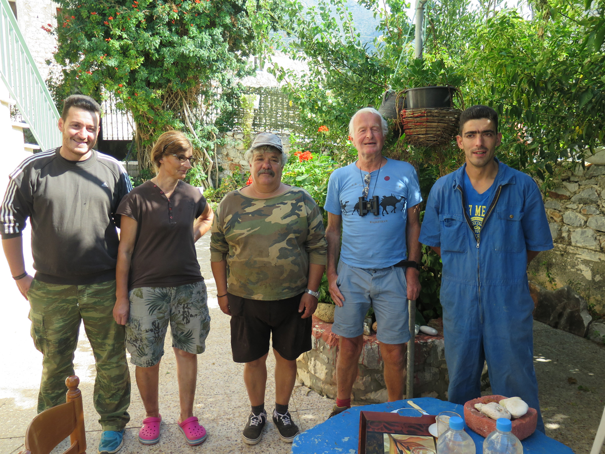 With the hospitable retired sailor and his family in Charia.