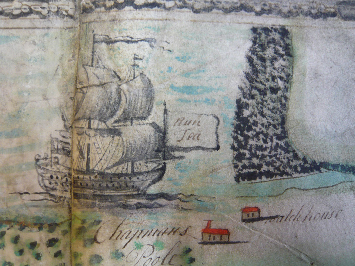 Detail of a 1737 map showing a sailing vessel approaching Chapmans Pool. On the flag is 'Rum Tea', both important smuggled goods. (courtesy Dorset History Centre)